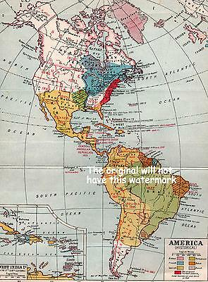 America Old Map Showing Discovery & Europen Acquisition Of Territory And Dates