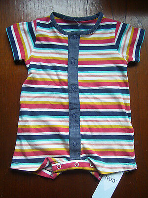 Baby Boys ' M & S ' Striped Babygro / Playsuit Age 0-3 Months Bnwt