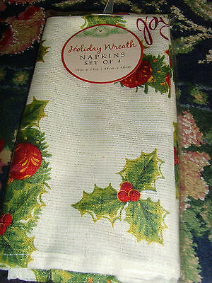 NEW Holiday Wreath fabric Christmas napkins 19x19 in set of 4 red JOY chic set