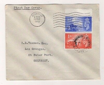 GB KGVI 1948 C.I. LIBERATION 21/2d CROWN FLAW VARIETY ON FDC, GUERNSEY P/MARKS