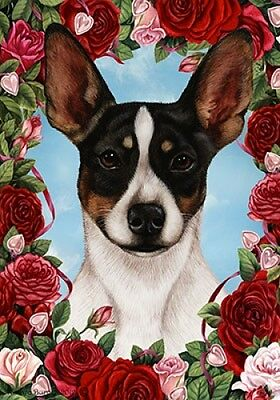 Large Indoor/Outdoor Roses Flag - Tri Rat Terrier 19324