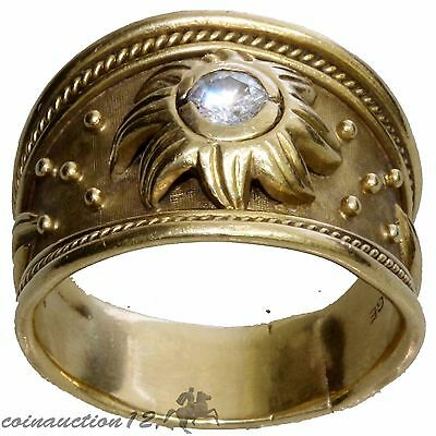 Elizabeth Gage Yellow Gold Templar Ring With Diamond 0.50 Karats