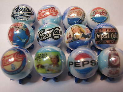 PEPSI COLA SODA POP GLASS MARBLES 5/8 SIZE COLLECTION LOT with STANDS