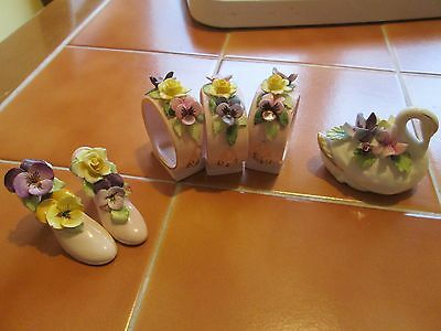 Three Adderley Floral Napkin Rings --Adderley Floral Swan --5 Towns Shoes Flower