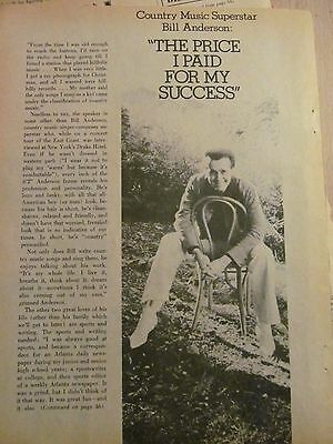 Bill Anderson, Three Page Vintage Clipping
