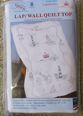 Jack Dempsey Stamped cross stitch / embroidery Lap Quilt Top LIGHTHOUSES