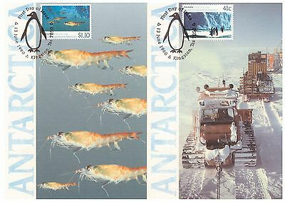 AUSTRALIA RUSSIA 1990 ANTARCTICA 2 x OBVERSE FIRST DAY ISSUE MAXI CARDS PENGUIN