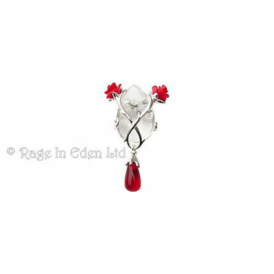 ROSE AND THORN Silver Plate Crystal Keeper Pendant & Chain By Anne Stokes (CK03)