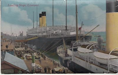 OLD  P/C  LANDING STAGE, LIVERPOOL, c1910   STEAM LINERS    DOCKS