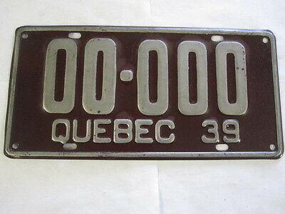 1939 Quebec SAMPLE ZERO  License Plate Tag