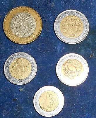 Lot Of Mexican Coins, Diez Pecos, $5, $2, $1 Bi Metal Coins
