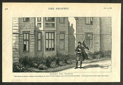 1882 Antique Print of Bagpiper Bagpiping Bagpipes