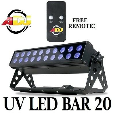 American DJ UV LED BAR 20 DMX 20x1w LED Ultraviolet ADJ Wash Up Light Disco Club