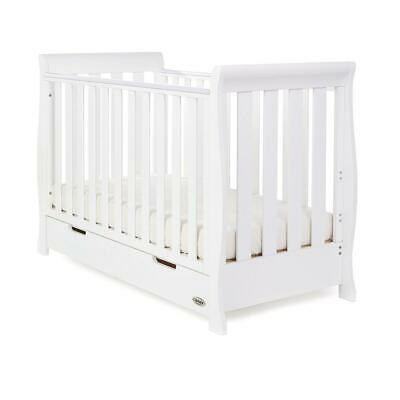 Obaby Stamford Mini Sleigh Cot Bed (White) with Under Bed Storage Drawer