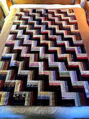 ANTIQUE SILK & VELVET RAIL FENCE QUILT UNFINISHED 1800s top
