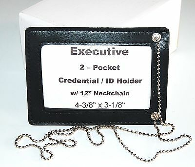 6 - NEW Black 2 Pocket Credential ID Badge Holder Name Tag Wallet Neck Chain