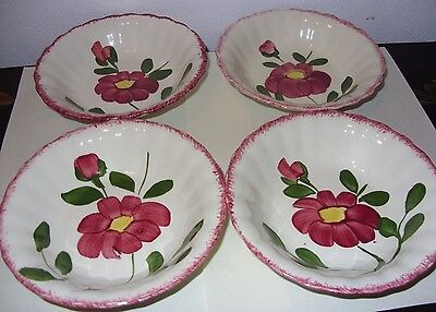 4 Blue Ridge Southern Potteries Red Nocturne Fruit Dessert Sauce Bowls-Nice