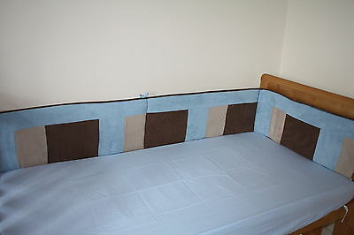 NEW blue baby boy's cotbed / cot BUMPER (nursery bedding) blue/brown