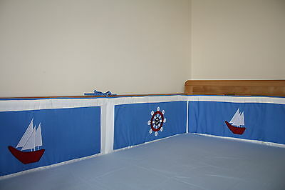 NEW blue baby boy's cotbed/cot BUMPER (nursery, bedding) nautical theme