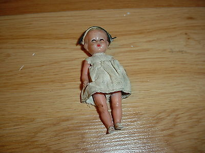 "Vintage Antique Celluloid or Plastic Baby Doll Eye's Open & Close Nurse 3"" Tiny"