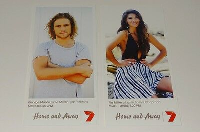 HOME AND AWAY FAN CARDS x2 NEW ASH & KAT - GEORGE & PIA