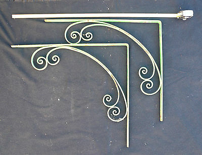 Reclaimed Vintage Large Wrought Iron Brackets Industrial Salvage Garden Display