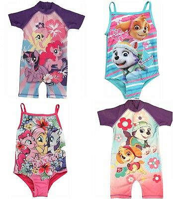 Girls My Little Pony and Paw Patrol Sunsuit Swimsuit Ages 1.5 to 6 Years