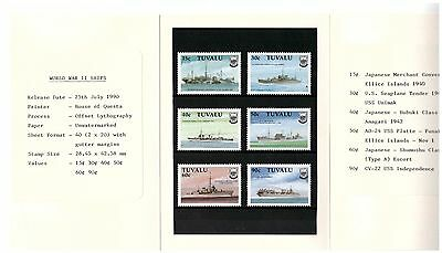 Tuvalu 1990 2Nd World War Ships Set Of 6 In Presentation Pack Mint Never Hinged