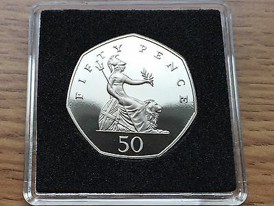 1989 50p PROOF Coin - Britannia - Royal Mint Fifty Pence - Free Case