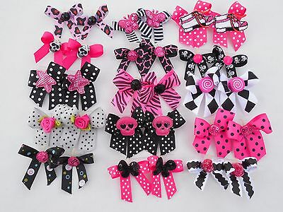 30 Fancy Hot PINK Black Goth Dog Pet child baby Grooming Bows 2 sizes Lot # 80