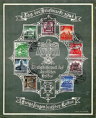 1941 - Germany - Winter Relief Fund Set Of 9 On Special Stamp Day Sheet
