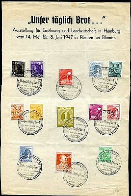 1947 - Germany - Selection Occupation Stamps On Hamburg Flower Show Sheet