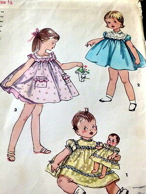 LOVELY VTG 1950s GIRLS & DOLLS DRESS Sewing Pattern 1/2