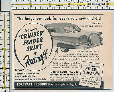 Foxcraft Products Cruiser Fender Skirts auto car 1958 magazine print ad