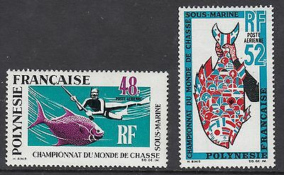FRENCH POLYNESIA 1969 UNDERWATER HUNTING, Set of 2, Mint Never Hinged