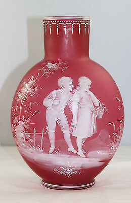 Huge Exquisite Mary Gregory Satin Glass Vase