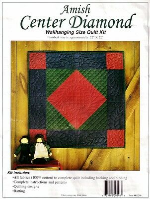"AMISH CENTER DIAMOND WALL KIT Rachel's of Greenfield 22""sq QUILTING Patchwork"