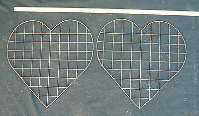 2 x Vintage Metal Heart Trellis Flower Garden Fencing Wedding Wreath