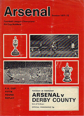 Arsenal v Derby County 1971/72 FA Cup 5th Round Replay
