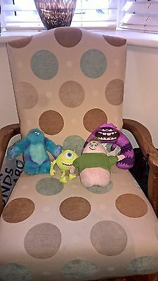 4 Different Disney Pixar Monsters Inc soft toys incl Purple one which growls