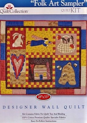 "The Quilt Collection 'FOLK ART SAMPLER' 28""x33"" DESIGNER WALL QUILT KIT + Guide"