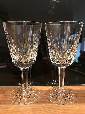 2 Waterford Lismore Wine Glasses - Signed