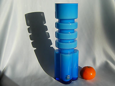 Alsterfors Art Glass Blue Vase by Per Olof Strom of Sweden in the 1960s Label On