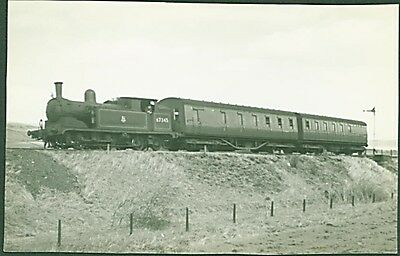 G5 Class 0-4-4T No. 67345 at Hawes. 1954 Ian Pearsall Postcard sized photo