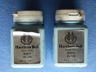 Harrison Bell MATTE GLAZE 2x4oz Bottles WHITE 05-334 G2 pre-1990 FACTORY SEALED