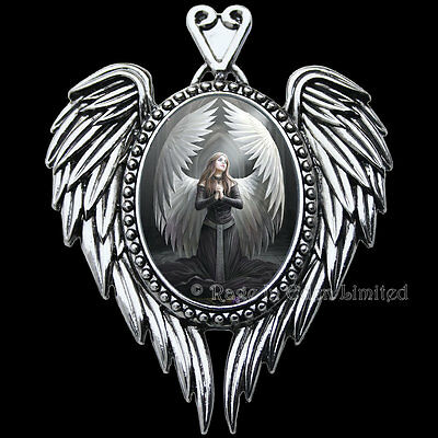 PRAYER FOR THE FALLEN Enchanted Cameo Angel Art Pendant By Anne Stokes (EC14)
