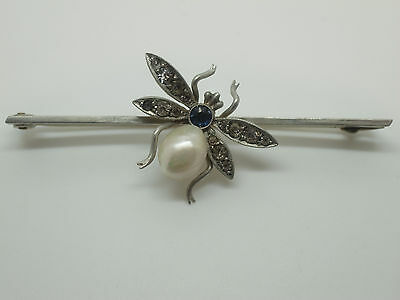 Antique Edwardian Deco Bug Bee Fly Insect Brooch Pin Pearl Sapphire Paste