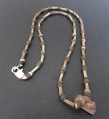 NILE  Ancient Egyptian Khnumn Amulet Mummy Bead Necklace ca 1000 BC