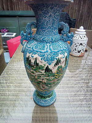 Antique Large ORIENTAL Japanese Embossed Hand Painted Vase With Marker Mark