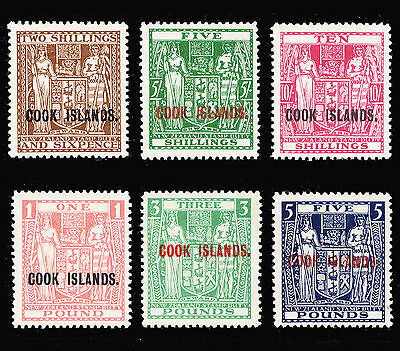 Cook Islands Postal Fiscal 1943-54 set of 6 mint hinged SG 131/136 CV £550